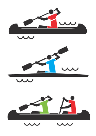 Canoe kayak icons. Icons with people in a kayak and canoe. Vector available.