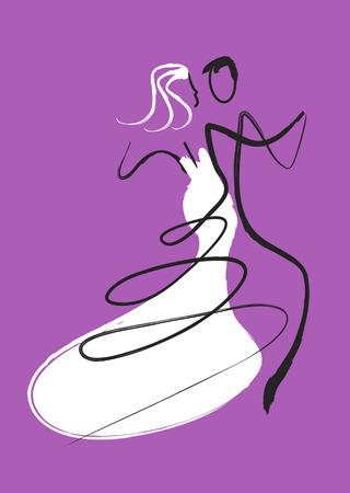 Dancing wedding couple. Young wedding couple dancing ballroom dance. Drawing imitating brush and ink.