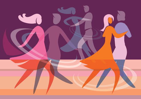 Ballroom Dancing Couples. Colorful background with silhouettes of dancing couples. Vector available.