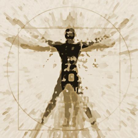 Foto de Vitruvian man expressive stylized. An illustration of a decaying silhouette of Vitruvian man. - Imagen libre de derechos