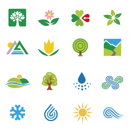 Icons nature landscape weather. Set of colorful icons icons with themes nature.Isolated on white background. Vector available.