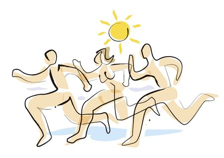 Ilustración de Nudists Three running naked people. Stylized expressive illustration of two men and woman running on beach in summer. Vector available. - Imagen libre de derechos