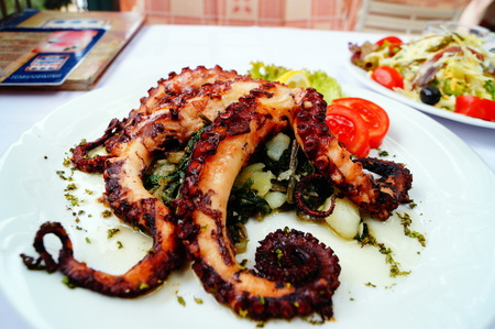 Gourmet dinner. Grilled octopus with vegetables