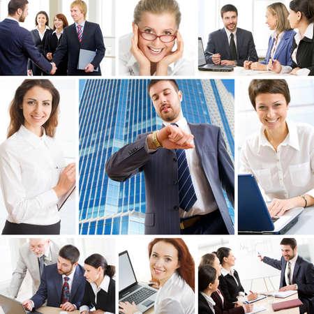 Photo pour Collage illustrates finance, communication, interaction, business lifestyle - image libre de droit