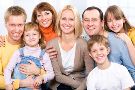Happy large family  looking at camera