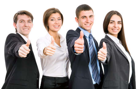 Group of happy business people giving the thumbs-up signの写真素材