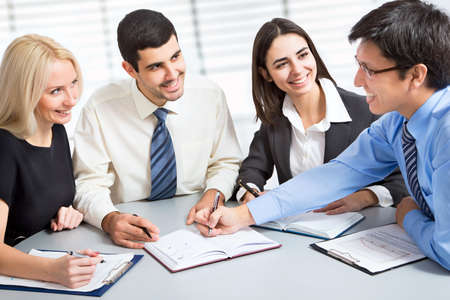 Photo for Business team working on their business project together at office - Royalty Free Image