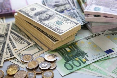 Photo pour Lot of dollars and euros. Background and texture - image libre de droit