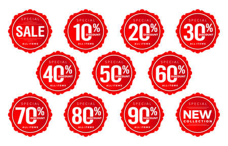 Illustration pour Discount sticker number, discount number set, tag number discount vector set, red label sale numbers collection . For Advertising, shopping festival, promotion in store, low price offer, & web banner - image libre de droit
