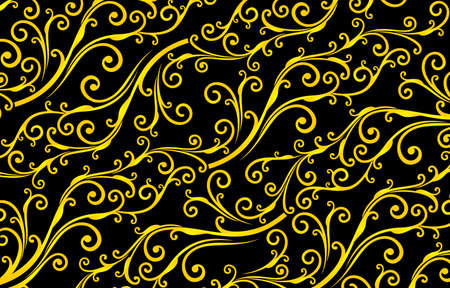 Illustration pour Floral seamless pattern yellowed colors with isolated black backgrounds, black and yellow patterns background. applicable for banners, fabric print, textile, agency, and printing paper for business. - image libre de droit