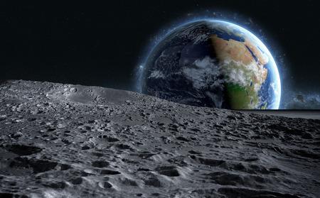 Foto de moon surface. The space view of the planet earth. 3d rendering. - Imagen libre de derechos
