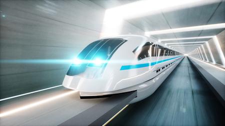 Foto de futuristic modern train, monorail fast driving in sci fi tunnel, coridor. Concept of future. 3d rendering - Imagen libre de derechos
