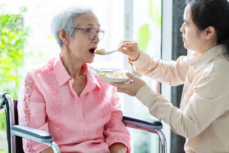 Photo pour Young female caregiver or daughter feeding senior woman or mother in wheelchair at retirement house or home,asian elderly patient with woman caretaker,help,service concept - image libre de droit