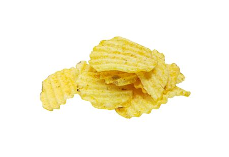 Photo pour Crispy potato chips isolated on white background. Tasty fried potato slices in closeup - image libre de droit