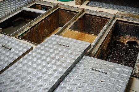 Photo pour Grease trap, waste disposal water treatment ponds, waste water disposal procedures - image libre de droit