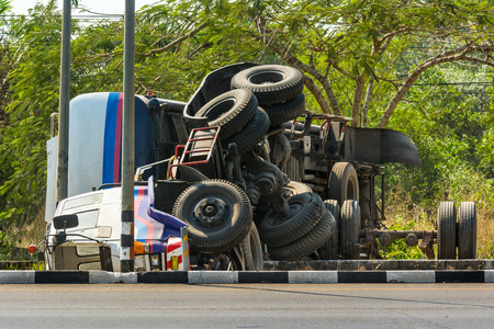 overturned truck accident on highway road