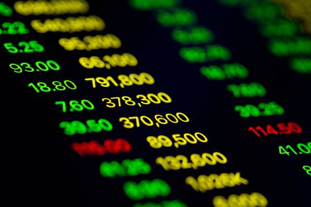 Photo pour Close up shot on digital screen data value of stock market change and volatility prices profit or loss - image libre de droit