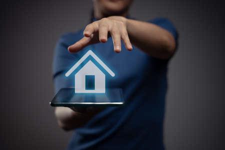 Photo pour Woman using tablet planning digital marketing with chart hologram effect. - image libre de droit
