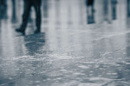 Rain in the city - selective focusの写真素材