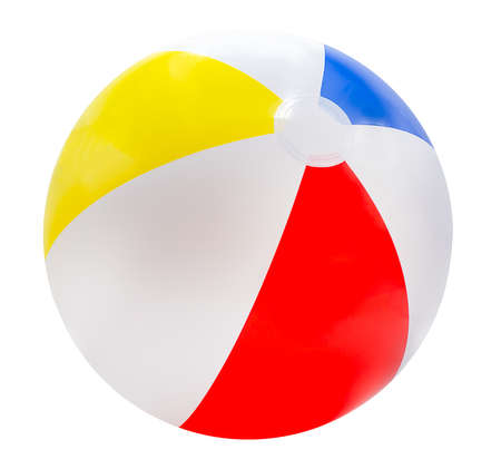 Photo pour Beach ball isolated on white background with red, yellow, blue and white. - image libre de droit