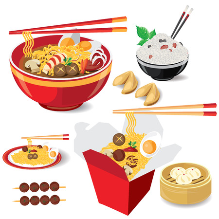 Stock Illustration: illustration noodle on white food china vector