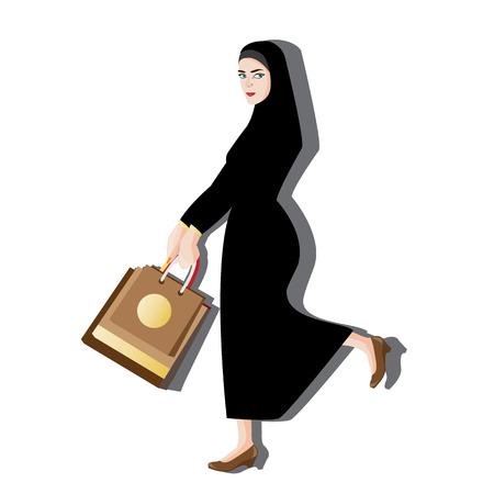 illustration woman muslim shopping on white background.
