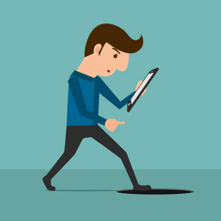 Smartphone addiction . A man looking at smartphone and walking to manhole. Cartoon Vector Illustration.