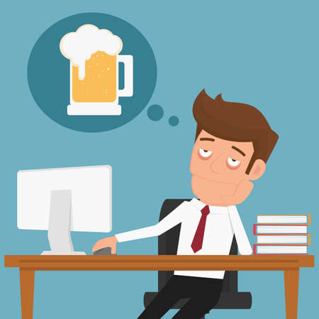Tired businessman thinking about relax and beer. Cartoon Vector Illustration.