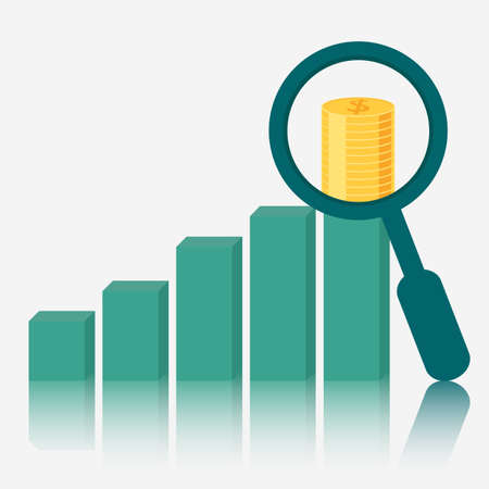 Magnifying glass focus money on raising charts. Vector Illustration.