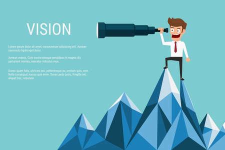 Vektor für Businessman stand on top of mountain using telescope looking for success, opportunities, future business trends. Vision concept. Cartoon Vector Illustration. - Lizenzfreies Bild