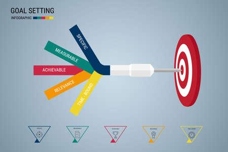 Illustration pour Goal setting. Smart goal. Business concept infographic template. Can be used for workflow layout, banner, diagram, web design. Vector Illustration. - image libre de droit