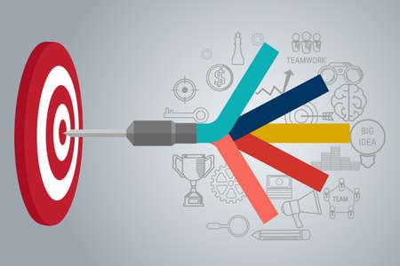 Illustration pour Business Target concept infographic. Goal setting. Smart goal. Can be used for workflow layout, banner, diagram, web design. Vector Illustration. - image libre de droit