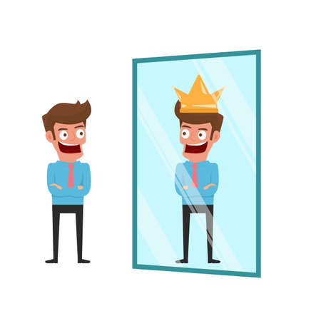 Businessman standing in front of mirror can see successful reflection. Business success concept. Cartoon Illustration.