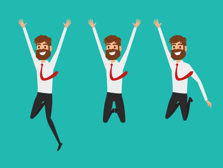 Businessman character flat design. Happy and successful businessman jumping in the air celebrating their success. Cartoon Vector Illustration