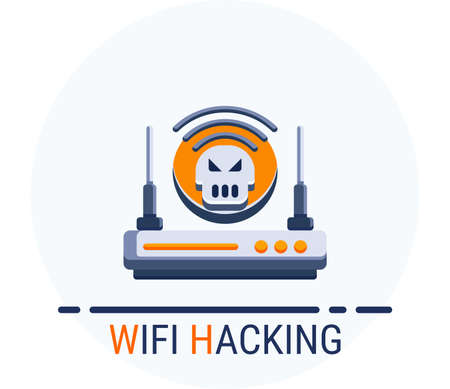 Illustration for Flat Icons Style. Hacker Cyber crime attack Wifi Hacking for web design. Vector Pixel Perfect - Royalty Free Image