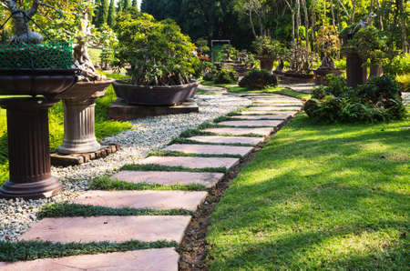 Landscaping in the garden. The path in the garden.