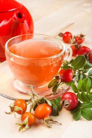 rose hip tea and red teapot
