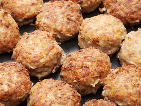 meatball from minced meat in frying pan