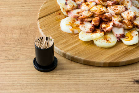 Octopus a la Gallega. Galician octopus on wood. Typical spanish food