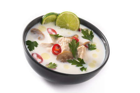 Photo for Traditional Thai food Tom Kha Gai and ingredients isolated on white background - Royalty Free Image
