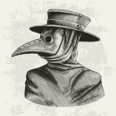 Illustration pour Plague doctor hand drawing vintage engraving isolate on grunge background - image libre de droit