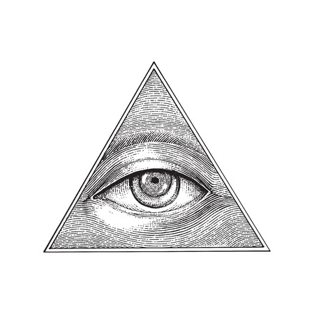 Illustration pour Pyramid of eye hand drawing engraving style - image libre de droit