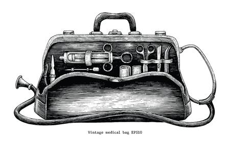 Ilustración de Vintage medical bag hand drawing engraving style - Imagen libre de derechos