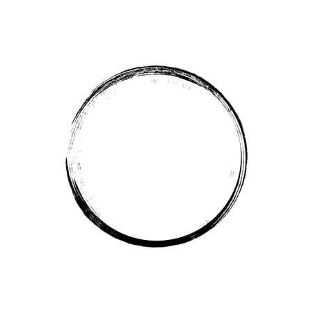 Illustration pour black circle hand drawn concept, circle shaped grunge brush strokes. - image libre de droit