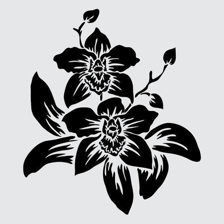 Illustration pour Elegant decorative orchid flowers, design element. Floral branch.  - image libre de droit