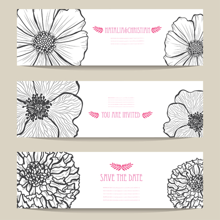Photo pour Elegant cards with decorative flowers, design elements. Can be used for wedding, baby shower, mothers day, valentines day, birthday cards, invitations, greetings. Vintage decorative flowers. - image libre de droit