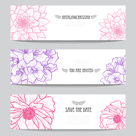 Illustration for Elegant cards with decorative flowers, design elements. Can be used for wedding, baby shower, mothers day, valentines day, birthday cards, invitations, greetings. Vintage decorative flowers. - Royalty Free Image