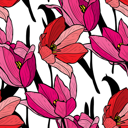 Illustration pour Elegant seamless pattern with tulip flowers, design elements. Floral  pattern for invitations, cards, print, gift wrap, manufacturing, textile, fabric, wallpapers - image libre de droit