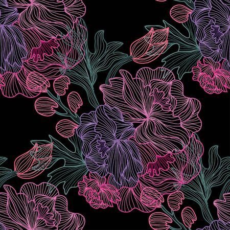 Illustration pour Elegant seamless pattern with peony flowers, design elements. Floral  pattern for invitations, cards, print, gift wrap, manufacturing, textile, fabric, wallpapers - image libre de droit