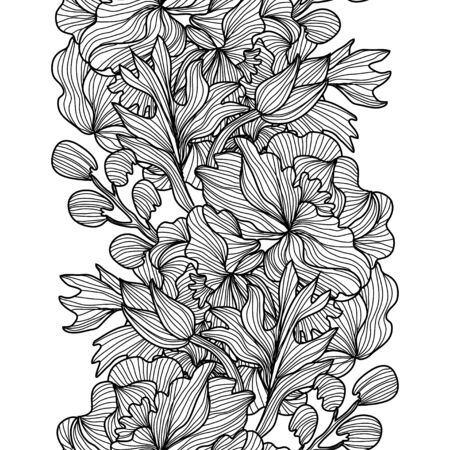 Illustration for Elegant seamless pattern with peony flowers, design elements. Floral  pattern for invitations, cards, print, gift wrap, manufacturing, textile, fabric, wallpapers - Royalty Free Image